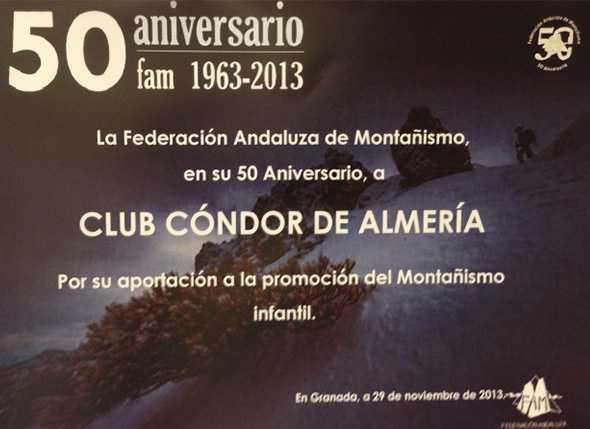 Cóndor recibe una mención a nivel andaluz por la promoción del montañismo infantil